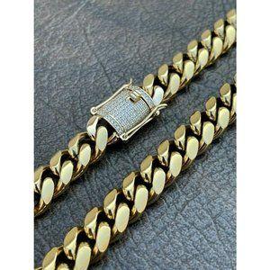 HarlemBling 14k Gold Diamond Stainless Link Chain